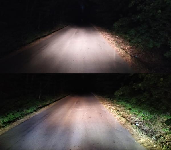Сравнение осветеност на пътя - Къси светлини / Къси + LED