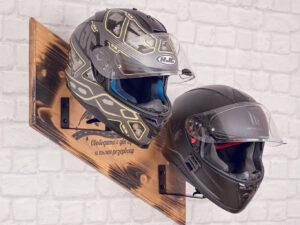 Wooden helmets stand