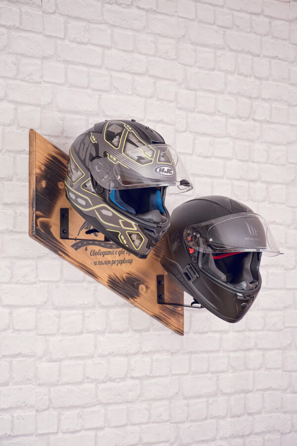 Wooden helmets stand